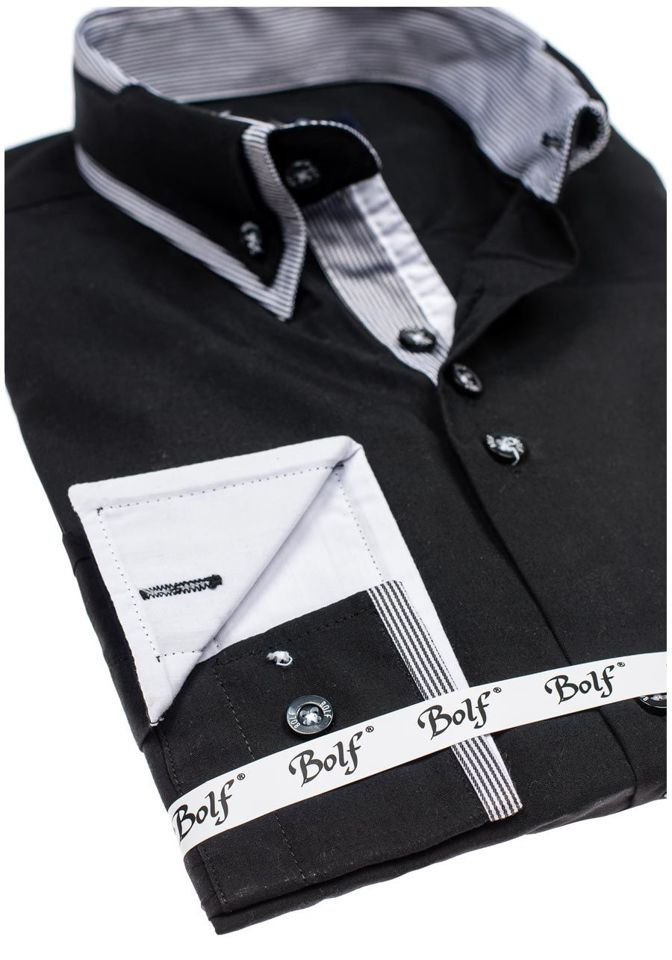 ... Чорна елегантна чоловіча сорочка з довгим рукавом Bolf 6929 ... e6c8512a565ac