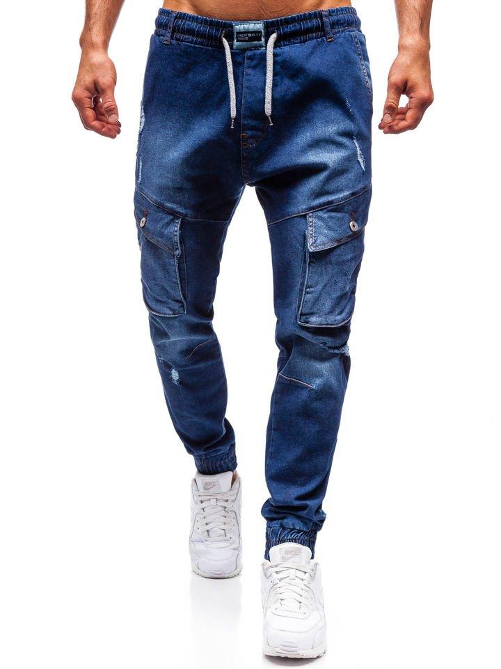 fd8acdfb Мужские джинсовые брюки джоггеры темно-синие Bolf2048 ТЕМНО-СИНИЙ