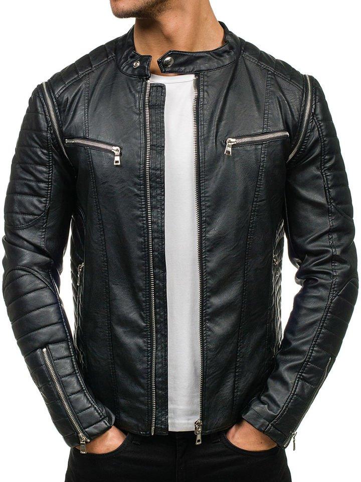 Чорна чоловіча шкіряна куртка Bolf 9188 36769e836b16c