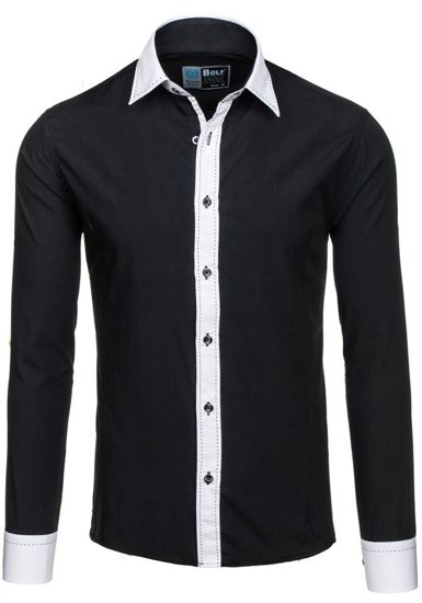 Черная мужская элегантная рубашка с длинным рукавом Bolf 6882
