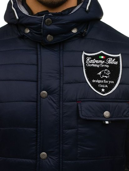 Зимняя мужская спортивная куртка темно-синяя Bolf 77
