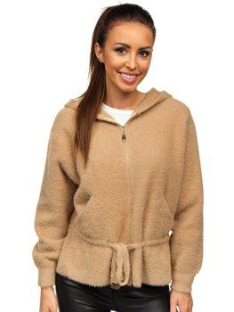 Бежевая женская демисезонная куртка с капюшоном Bolf 8807
