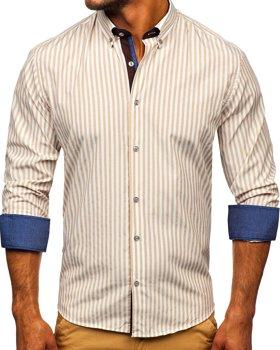 Бежевая мужская рубашка в полоску с длинным рукавом Bolf 20704
