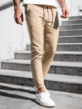 Бежевые мужские брюки джоггеры Bolf 0011