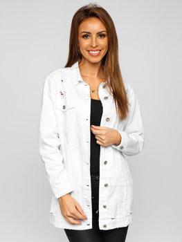 Белая удлиненная женская джинсовая куртка Bolf WL1743-10