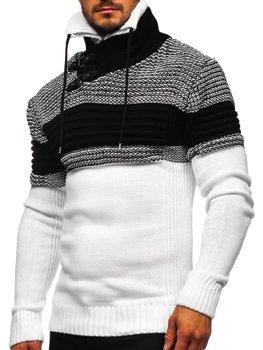 Белый мужской свитер толстой вязки с воротником-стойкой Bolf 2002