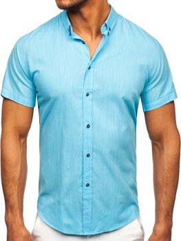 Бирюзовая хлопковая мужская рубашка с коротким рукавом Bolf 20501