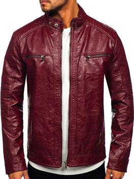 Бордовая кожаная мужская байкерская куртка Bolf 2002