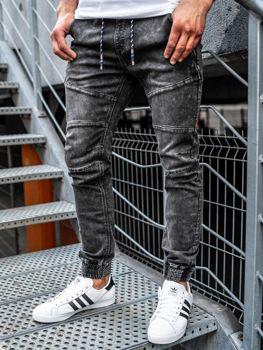 Брюки  джоггеры джинсовые мужские черные Bolf KA755