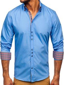 Голубая мужская элегантная рубашка с длинным рукавом Bolf 0926