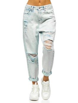 Голубые женские джинсы mom fit Bolf WL1691