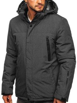 Графитовая мужская зимняя спортивная лыжная куртка Bolf 9801