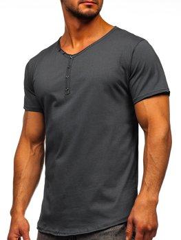 Графитовая мужская футболка с V-образным вырезом без принта Bolf 4049