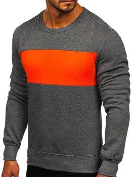 Графитово-оранжевая мужская толстовка без капюшона Bolf 2021