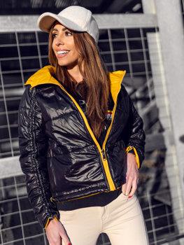 Желтая двусторонняя стеганая куртка с капюшоном Bolf B9553
