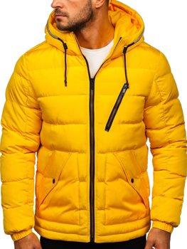 Желтая стеганая мужская зимняя куртка с капюшоном Bolf 1181