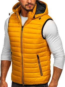 Желтый стеганый мужской жилет с капюшоном Bolf 6701