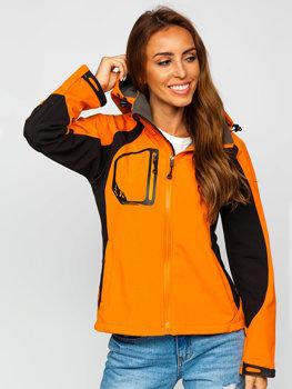 Женская демисезонная куртка софтшелл оранжевая Bolf 9055