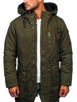 Зеленая мужская зимняя парка куртка Bolf 5283