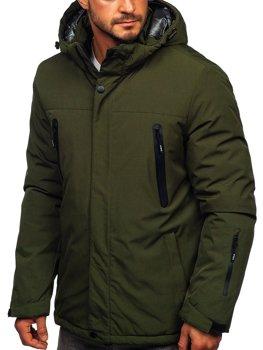 Зеленая мужская зимняя спортивная лыжная куртка Bolf 9801