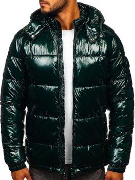 Зеленая стеганая зимняя мужская спортивная куртка Bolf 974
