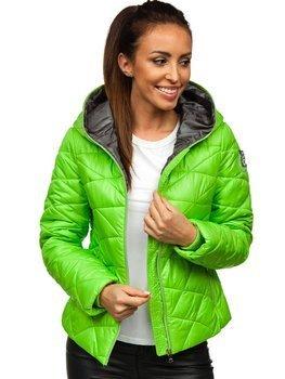 Зеленая стеганая куртка женская зимняя с капюшоном Bolf A5701