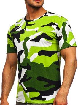 Зеленая хлопковая футболка мужская с принтом камуфляж Bolf 14930