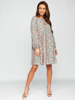 Зеленое платье женское в цветочек Bolf 3019