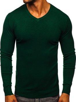 Зеленый мужской свитер с V-образным вырезом Bolf YY03