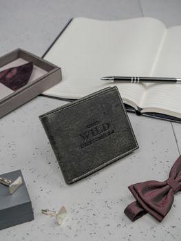 Кошелек мужской кожаный черный 3199