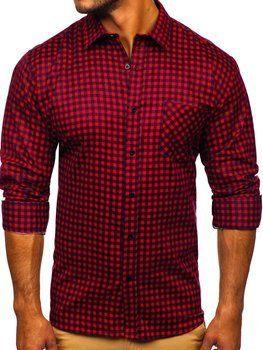 Красная мужская фланелевая рубашка с длинным рукавом Bolf F8