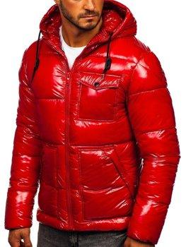 Красная стеганая зимняя мужская спортивная куртка Bolf 973