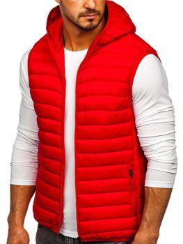 Красный стеганый мужской жилет с капюшоном Bolf LY36