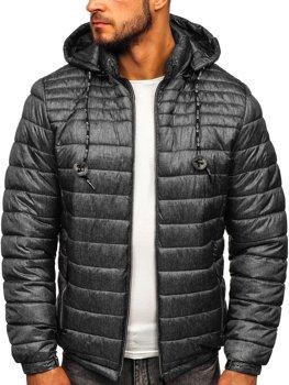 Куртка мужская демисезонная спортивная стеганая графитовая Bolf 50A411