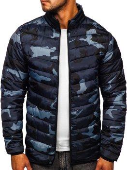 Куртка мужская демисезонная спортивная стеганая камуфляж-графитовая Bolf SM32