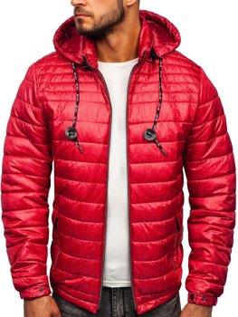 Куртка мужская демисезонная спортивная стеганая красная Bolf 50A411