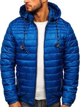 Куртка мужская демисезонная спортивная стеганая синяя Bolf 50A411