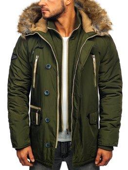 Куртка мужская зимняя парка зеленая Bolf 1045A