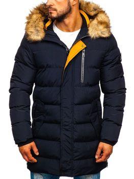 Куртка мужская зимняя парка темно-синяя Bolf 5981