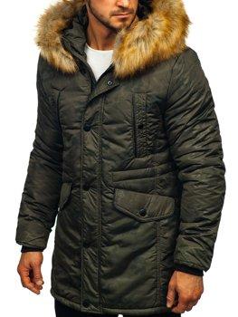 Куртка мужская зимняя парка цвета хаки Bolf JK339