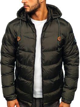 Куртка мужская зимняя спортивная стеганая хаки Bolf 50A156