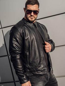 Куртка мужская кожаная утепленная черная Bolf 92532