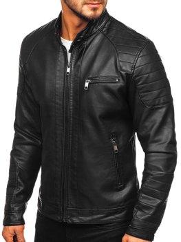 Куртка мужская кожаная biker черная Bolf 88902