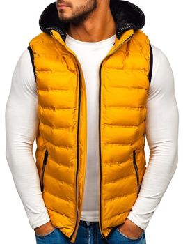 Мужская безрукавка с капюшоном желтая Bolf 5802