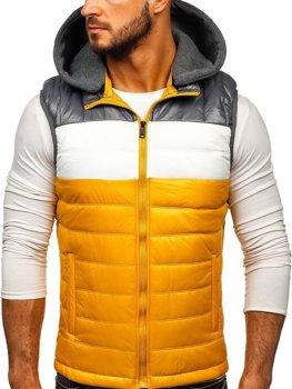 Мужская безрукавка с капюшоном желтая Bolf 6105