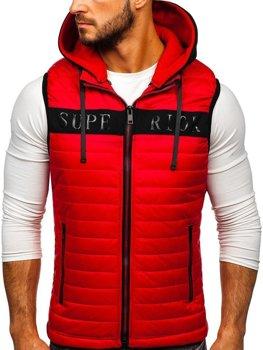 Мужская безрукавка с капюшоном красная Bolf 6101