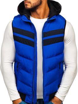 Мужская безрукавка с капюшоном синяя Bolf 5803