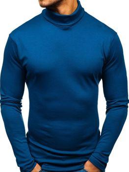 Мужская водолазка без принта синяя Bolf 145347