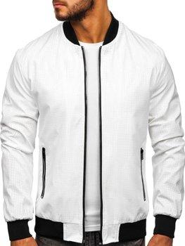Мужская демисезонная куртка бомбер белая Bolf 6119