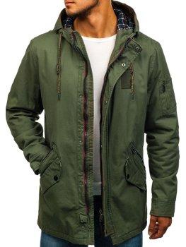 Мужская демисезонная куртка парка зеленая Bolf 1819
